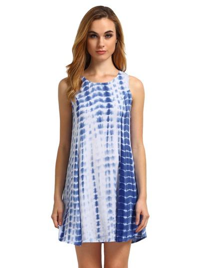 Blue Sleeveless Color Block Dress Sundress