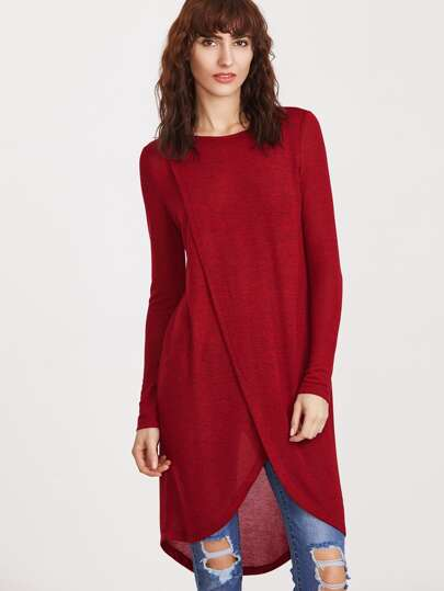 Red Marled Knit Overlap Front High Low Dress
