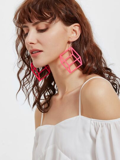 Hot Pink Square Shaped Drop Earrings