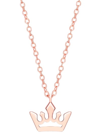 Rose Gold Crown Pendants Chain Necklace