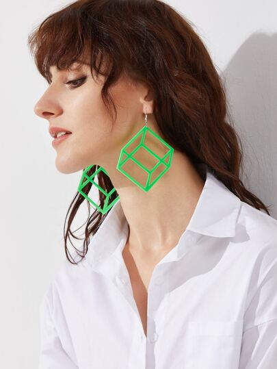 Green Hollow Out Polygon Drop Earrings