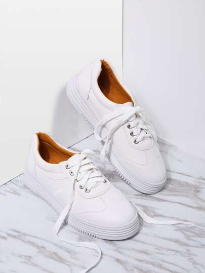 White PU Rubber Sole Low Top Sneakers