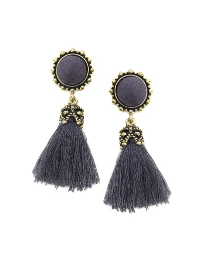 Grey Tassel Drop Earrings