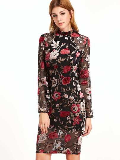 Multicolor Flower Print Organza Overlay Sheath Dress