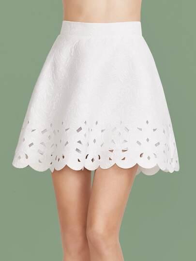 Scallop Laser Cutout Jacquard Skirt