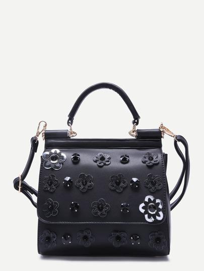 Noir, fleur, strass, embelli, PU, sac à main, courroie
