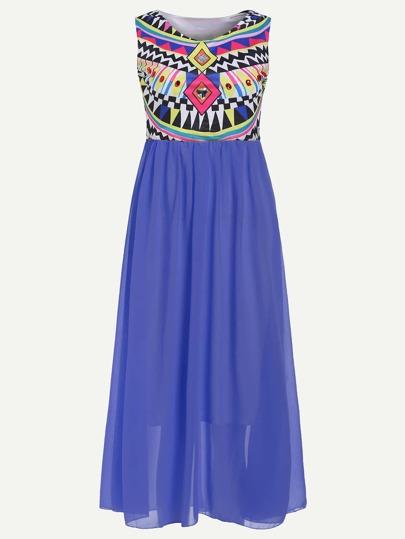 bleu sans manches 2 dans 1 robe imprimé géométrique