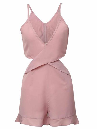 Розовый модный комбинезон с V-образным вырезом
