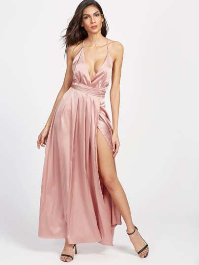 Plunging Surplice Front Crisscross High Slit Cami Dress
