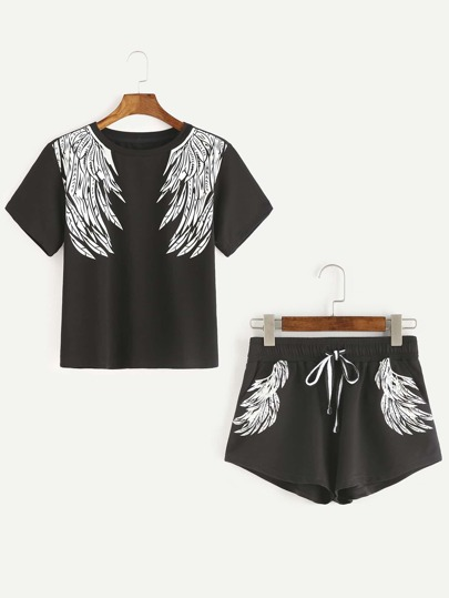 Black Wings Print Short Sleeve T-shirt With Drawstring Shorts