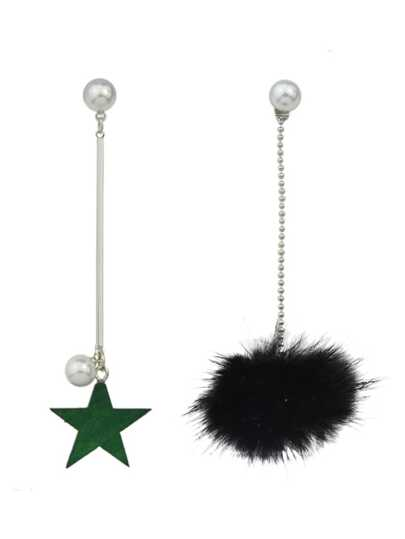 Black Color Fake Fur Ball Star Shap Long Earrings