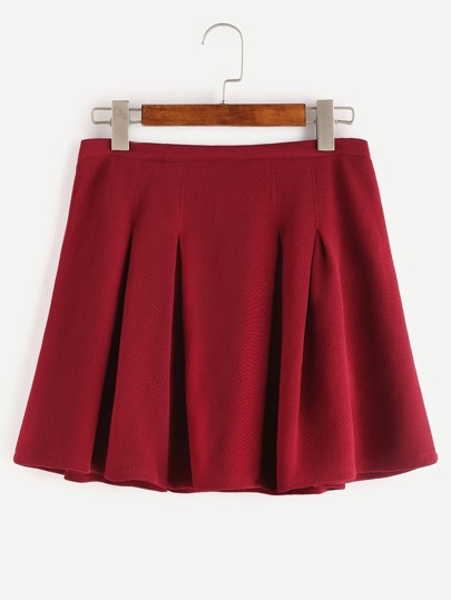 Red Zipper Back Pleated Skirt