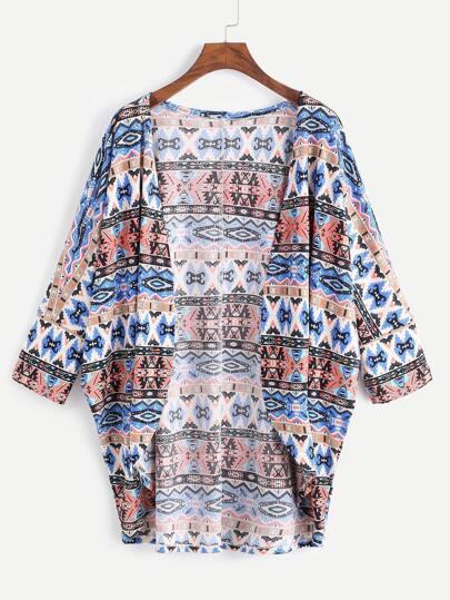 Kimono avec imprimé ethnique et arrondi bas - multicolore