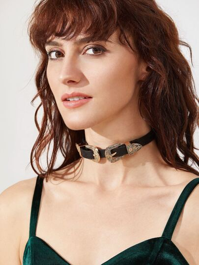 Double Buckle Faux Leather Choker