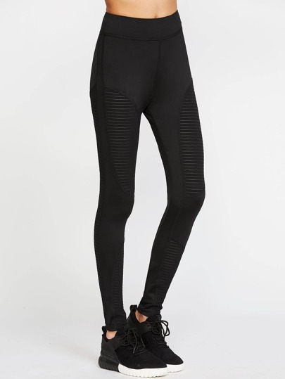 Striped Mesh Insert Leggings