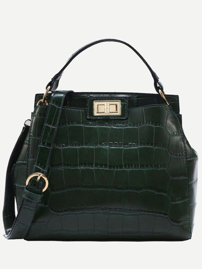 Bolso cocodrilo en relieve doble turnlock -verde