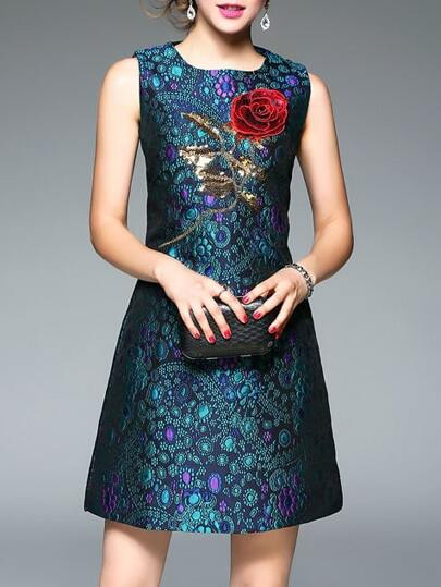 Blue Sequined Jacquard Shift Dress