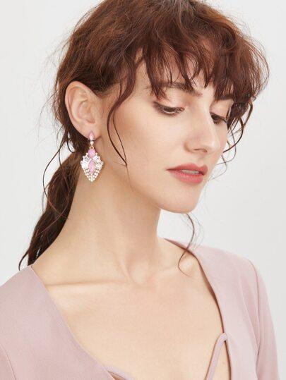 Geo Statement Rhinestone Drop Earrings