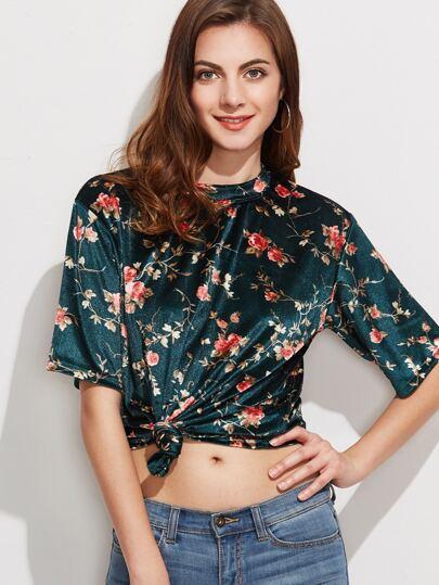 Green Floral Print Velvet T-shirt