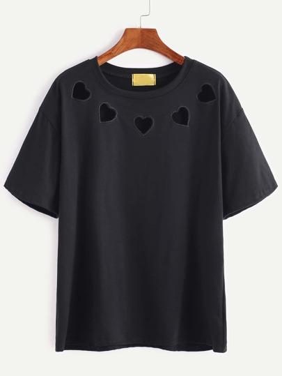 Schwarze Herzen gesticktes hohles T-Shirt