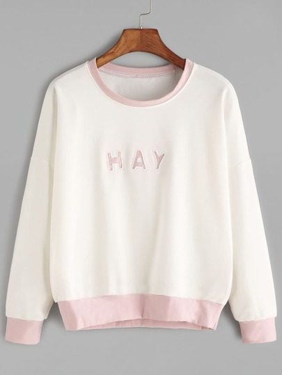 Beige Contrast Trim Letter Print Drop Shoulder Sweatshirt