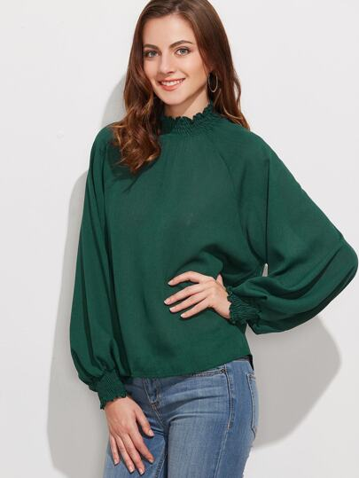 Blusa de manga farol - verde oscuro