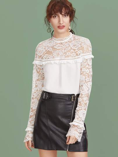 White Sheer Lace Shoulder And Sleeve Ruffle Trim Top