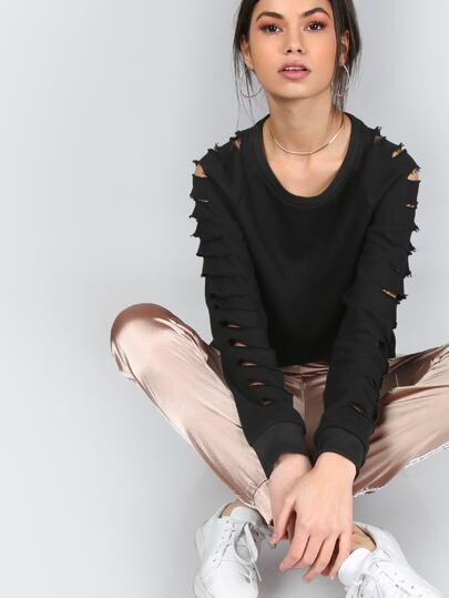 Black Raglan Sleeve Ripped Sweatshirt