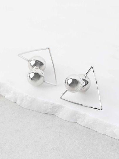 Double Sided Clip On Triangle Earrings SILVER