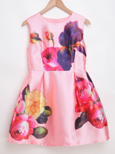 Pink Flower Print Zipper Back Sleeveless Dress