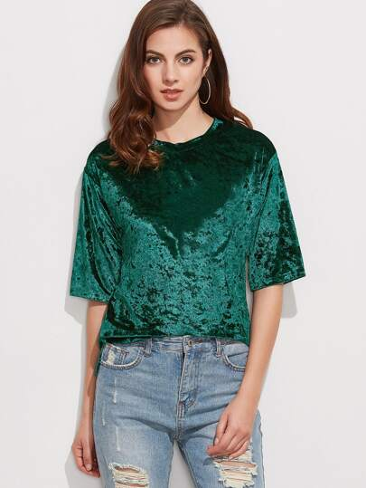 Dark Green Half Sleeve Velvet T-shirt