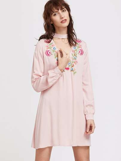Pink Embroidery V Neck Choker Long Sleeve Dress