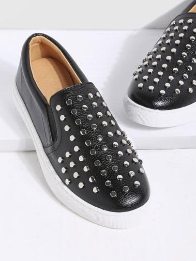 Chaussures à semelle caoutchouc en similicuir -noir