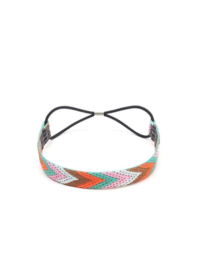 Multicolor Braided Chevron Pattern Headband