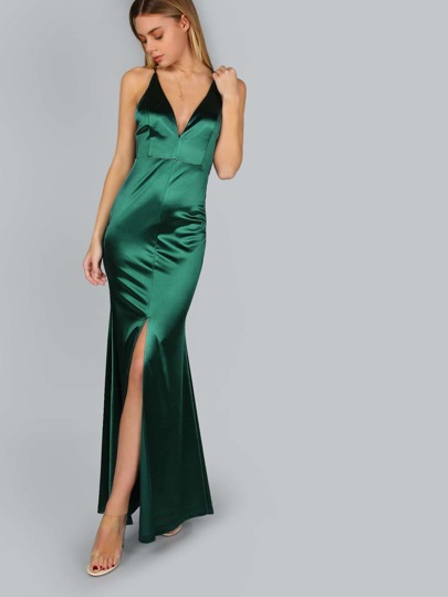 Cross Back Satin Slit Maxi Gown DARK GREEN