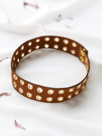 Brown Metal Eyelet Embellished Choker Necklace