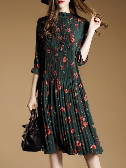 Green Floral Pleated A-Line Dress
