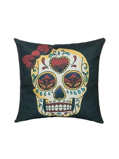 Gothic Black Skull und Rose Leinen Kissenbezug