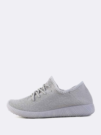 Textured Sole Flyknit Sneakers LIGHT GREY