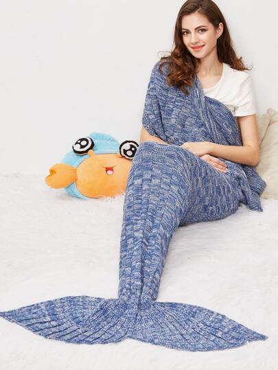 Blue Marled Square Knit Mermaid Tail Blanket