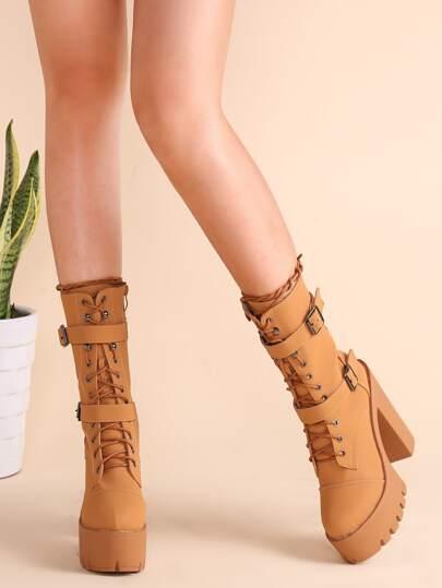 Бежевые модные сапоги со шнуровкой с пряжкой на грубых каблуках