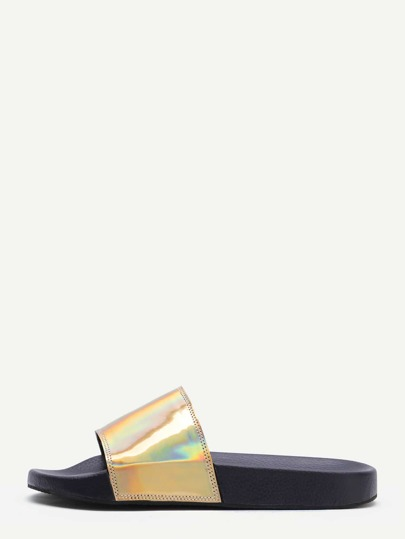 Gold PU Slider Flat Sandals