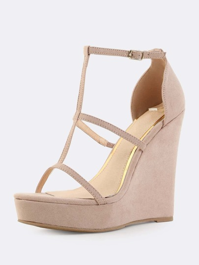 Cut Out Faux Suede Wedges NUDE