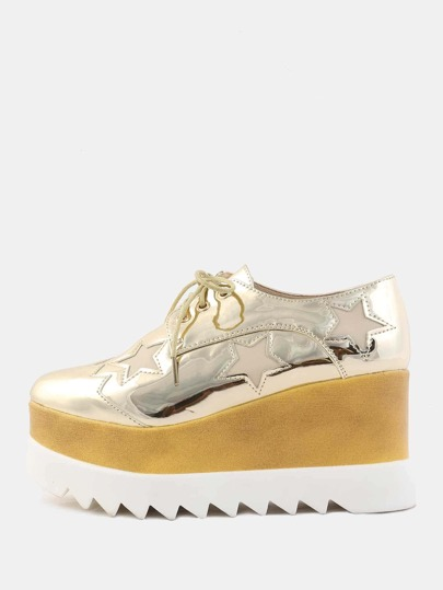Reflective Platform Sole Star Sneakers GOLD