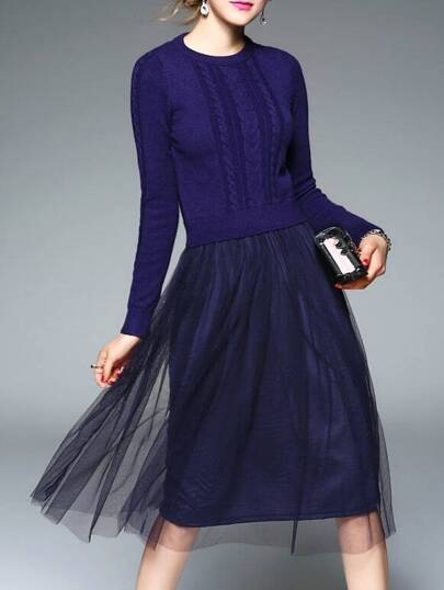 Navy Knit Contrast Gauze Combo Dress