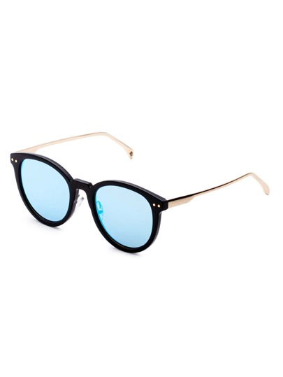 Blue Lens Metal Arms Sunglasses