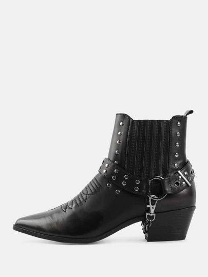 High Shaft Studded Ankle Booties BLACK