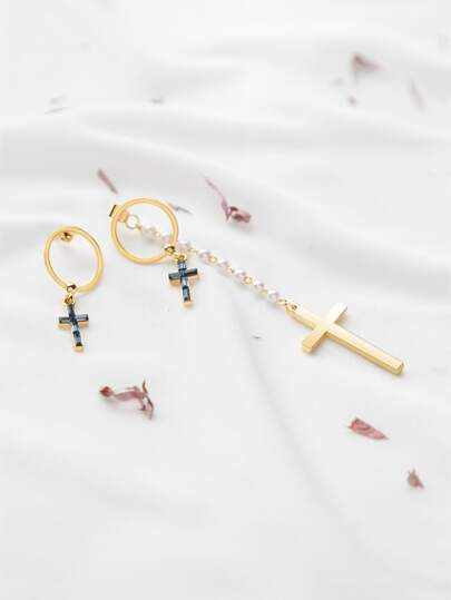 Gold Plated Cross Pendant Faux Pearl Asymmetrical Earrings