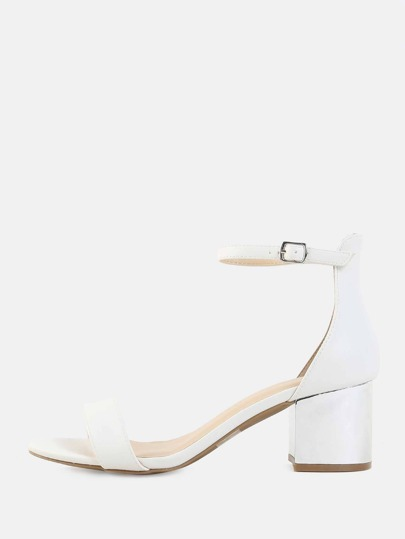 Open Toe Metallic Block Heels WHITE