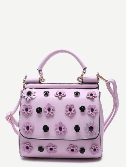 Pink Flower And Rhinestone Embellished PU Handbag With Strap